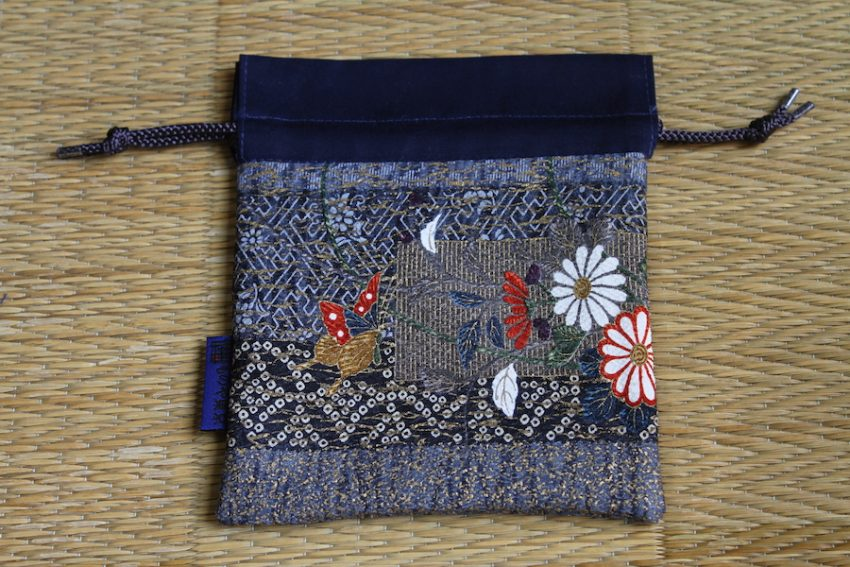 Bourse kinchaku – Fleurs brodées – Ichiban