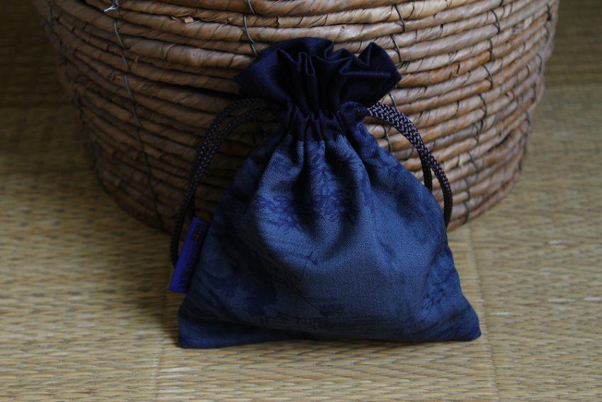 Bourse kinchaku – Estampe bleue – Ichiban