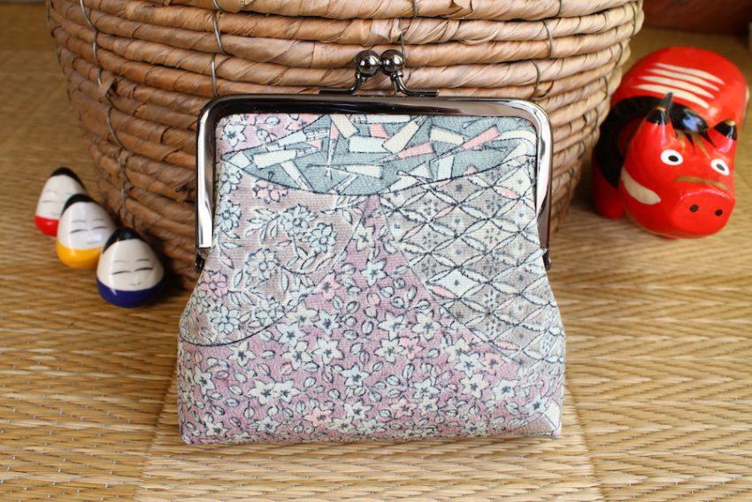 Porte-monnaie carré – Kimono gris et rose