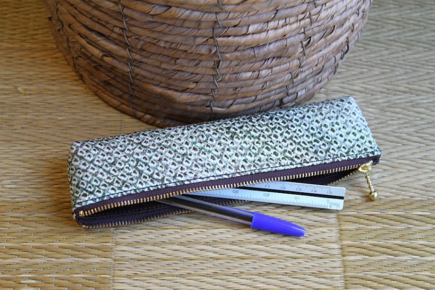 Pencil Case – Green Shibori