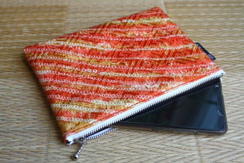 Thin pouch – Orange Shibori