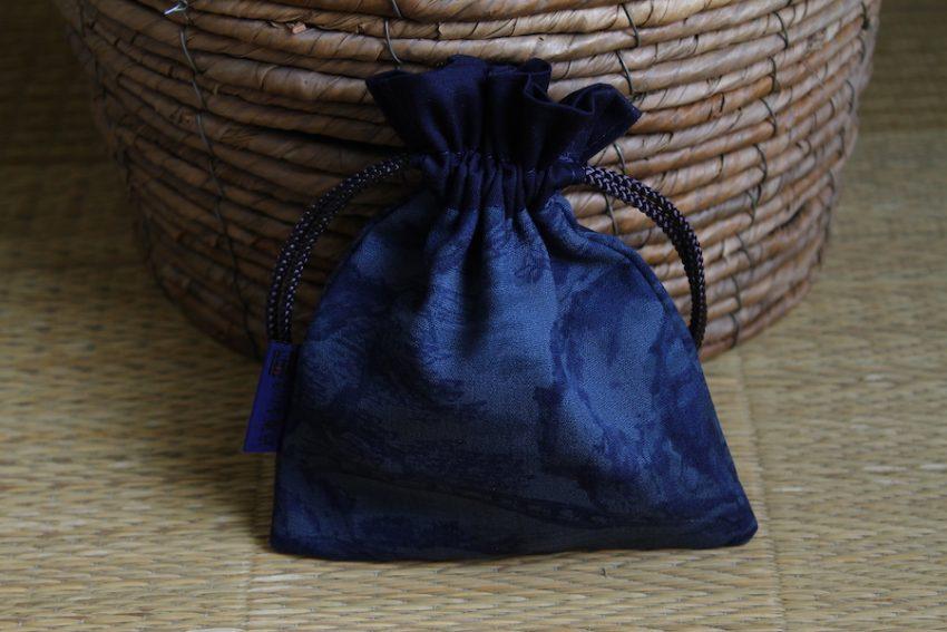 Bourse kinchaku – Estampe bleue – Niban