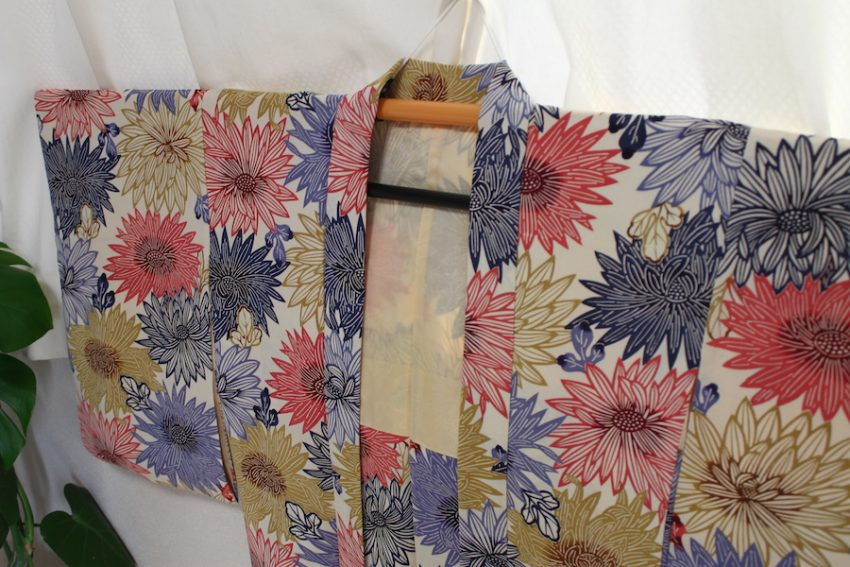 Vintage Haori Jacket – White with Large Flowers