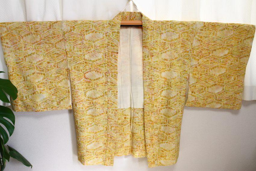 Veste Vintage Haori – Shibori Jaune