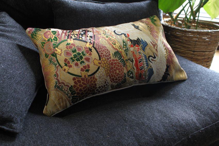 Housse de coussin – Obi Kimono Grues & Tambours