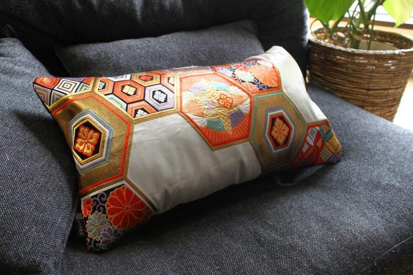 Housse de coussin – Obi Kimono Kikko Asymétrique