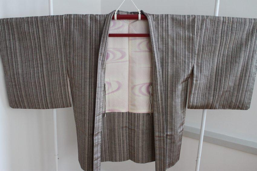 Veste Vintage Haori – Grise à Rayures