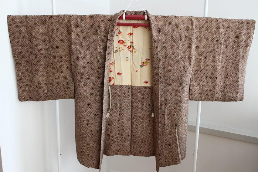 Veste Vintage Haori – Marron Imitation Shibori